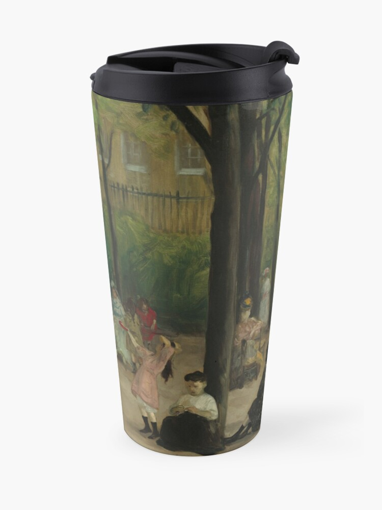 Alternate view of Luxembourg Gardens Oil Painting by William James Glackens Travel Mug