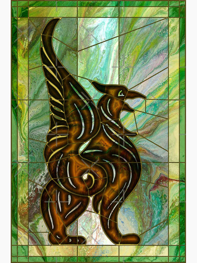 Gryphon: stained glass griffin by kerravonsen