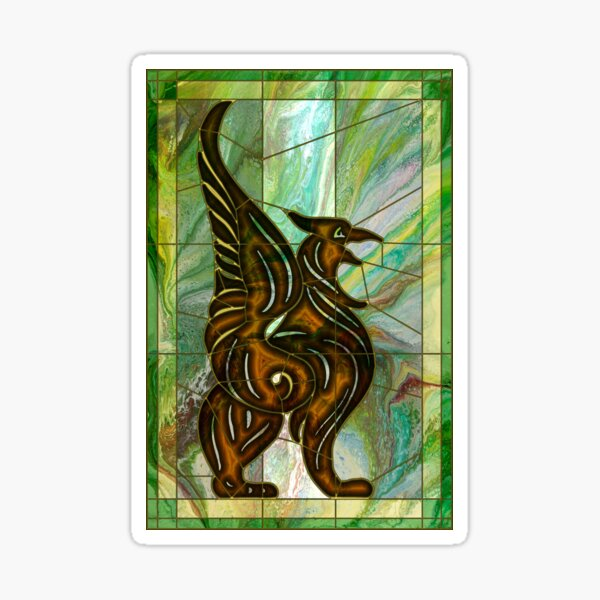 Gryphon: stained glass griffin Sticker