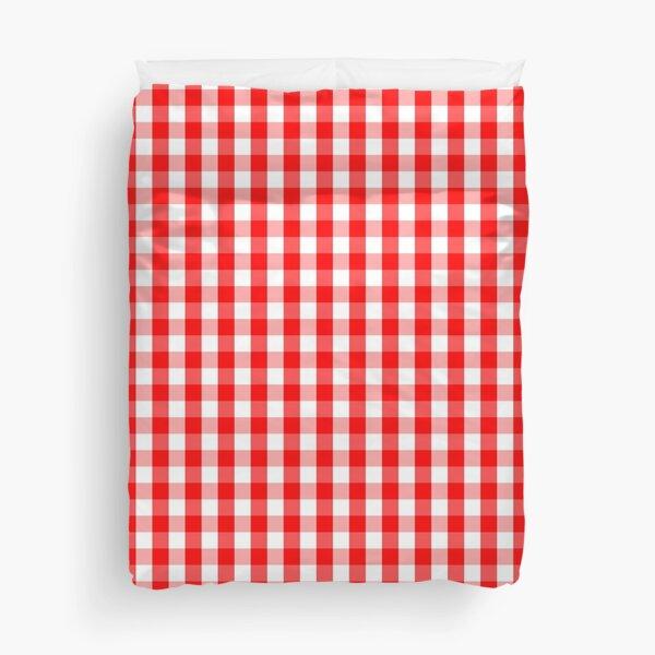 Large Australian Flag Red and White Gingham Check Duvet Cover