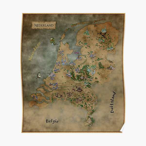Fantasy map of the Netherlands Poster