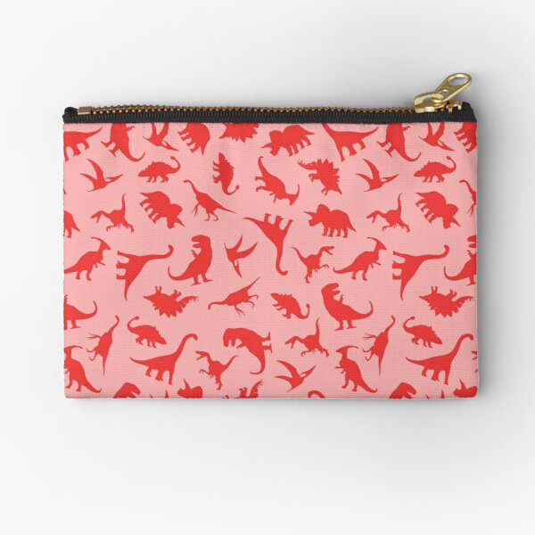 Red Dinosaur Pattern Zipper Pouch