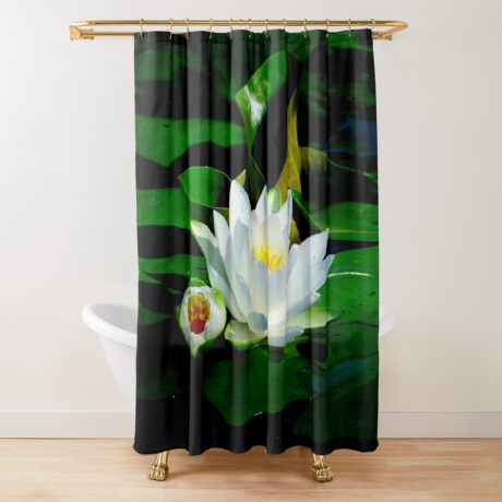 White Water Lily and Bud on Lily Pad Shower Curtain