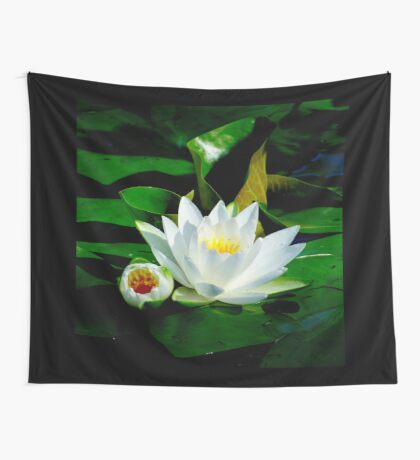 White Water Lily and Bud on Lily Pad Wall Tapestry