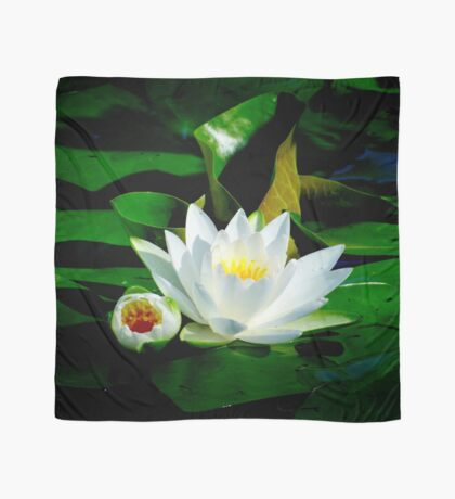 White Water Lily and Bud on Lily Pad Scarf