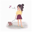 Cute girl and her dog by beachlifestudio