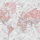 Staubige rosa und graue Weltkarte mit Marmorhintergrund von blursbyai