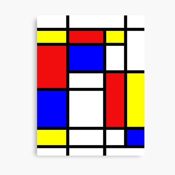 Mondrian. Red, Blue, Yellow, Abstraction, Art. Canvas Print