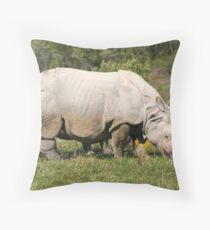 Greater One-horned Asian Rhino Throw Pillow