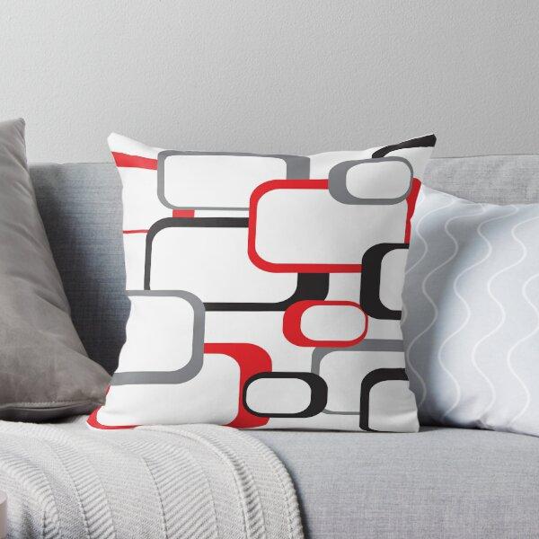 Retro Square Pattern Black Red Gray White  Throw Pillow