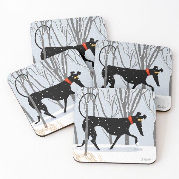 Winter Hound  Coasters (Set of 4)