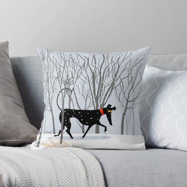 Winter Hound  Throw Pillow