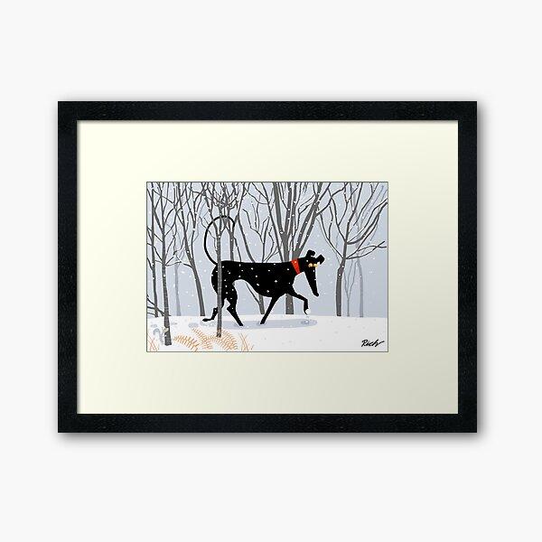 Winterhund Gerahmter Kunstdruck