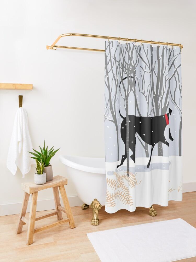 Alternate view of Winter Hound  Shower Curtain