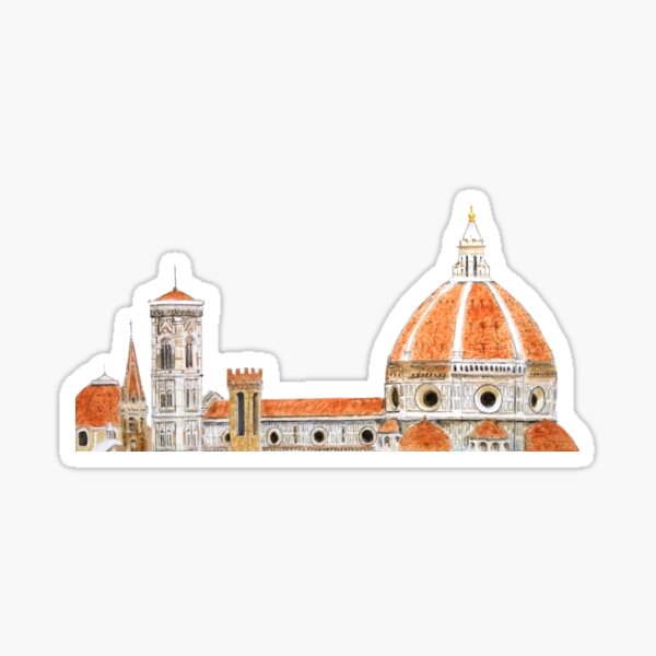 Italy Florence Cathedral Duomo watercolor painting  Sticker