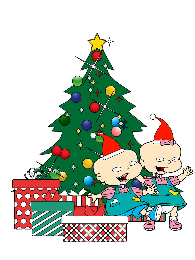 Rugrats Christmas.Phil And Lil Rugrats Around The Christmas Tree Baby One Piece