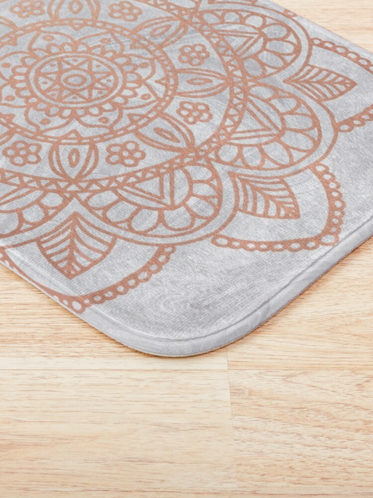 Alternate view of Rose Gold Mandala on White Marble Bath Mat