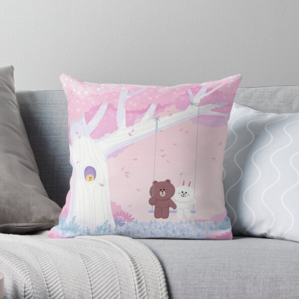 Cute Brown and Cony swing Throw Pillow