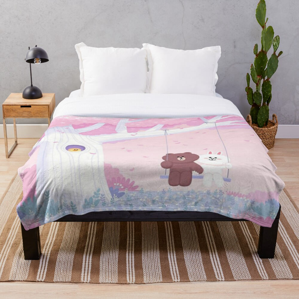 Cute Brown and Cony swing Throw Blanket