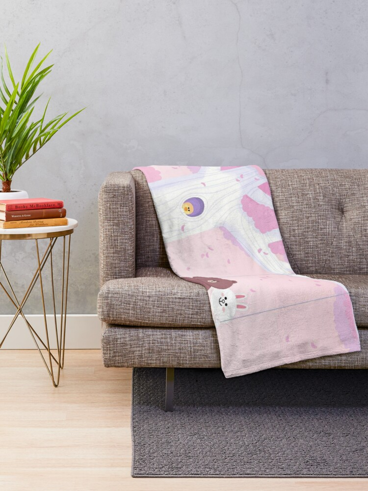 Alternate view of Cute Brown and Cony swing Throw Blanket