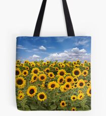 Sunflower Field With Heavenly Sky Tote Bag