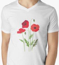 Red poppies V-Neck T-Shirt