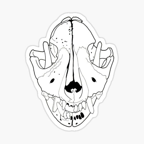 Dog Skull Beloved Pet transparent line art Sticker