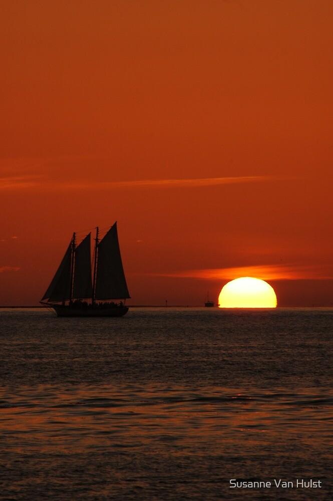 Sunset Schooner in Key West, FL by Susanne Van Hulst