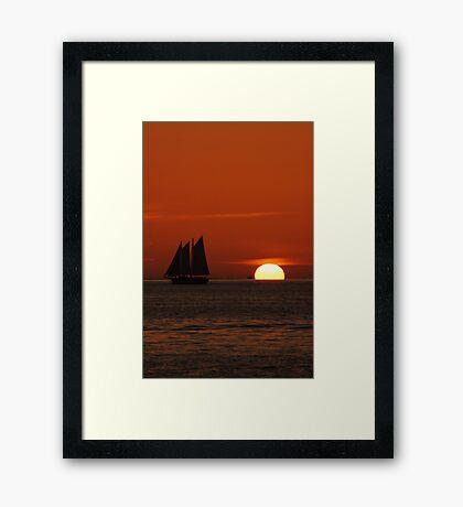 Sunset Schooner in Key West, FL Framed Print