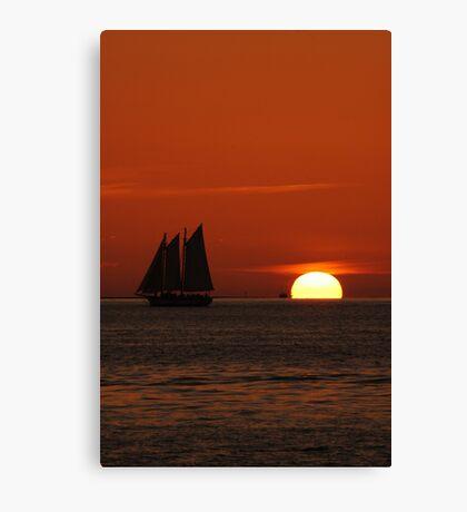 Sunset Schooner in Key West, FL Canvas Print