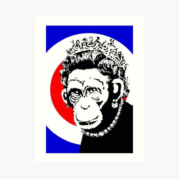 Banksy Monkey Queen 2003 Artwork, Street Art, Design For Posters, Prints, Tshirts, Men, Women, Kids Art Print