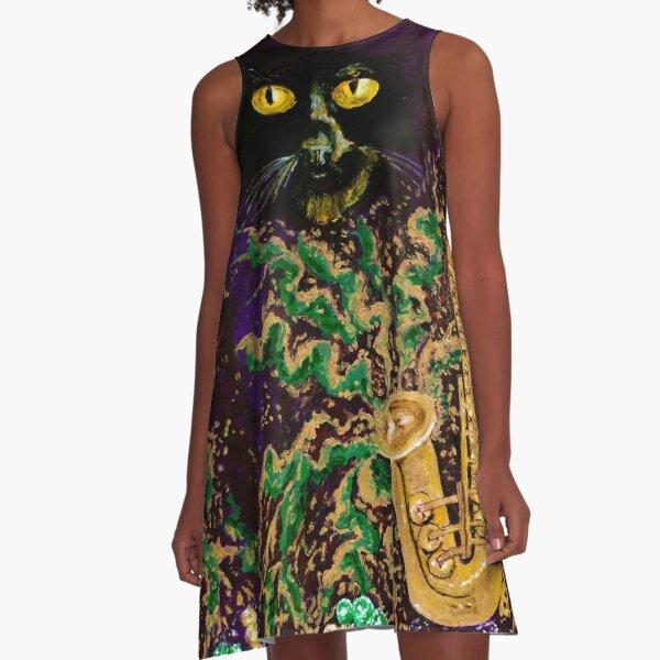 Boo Cat Mardi Gras A-Line Dress