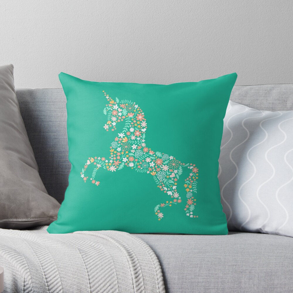 Floral Unicorn in Teal Throw Pillow