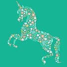 Floral Unicorn in Teal by latheandquill