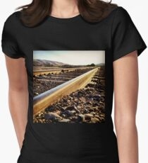 Sunshine Hits the Endless Train Tracks Womens Fitted T-Shirt