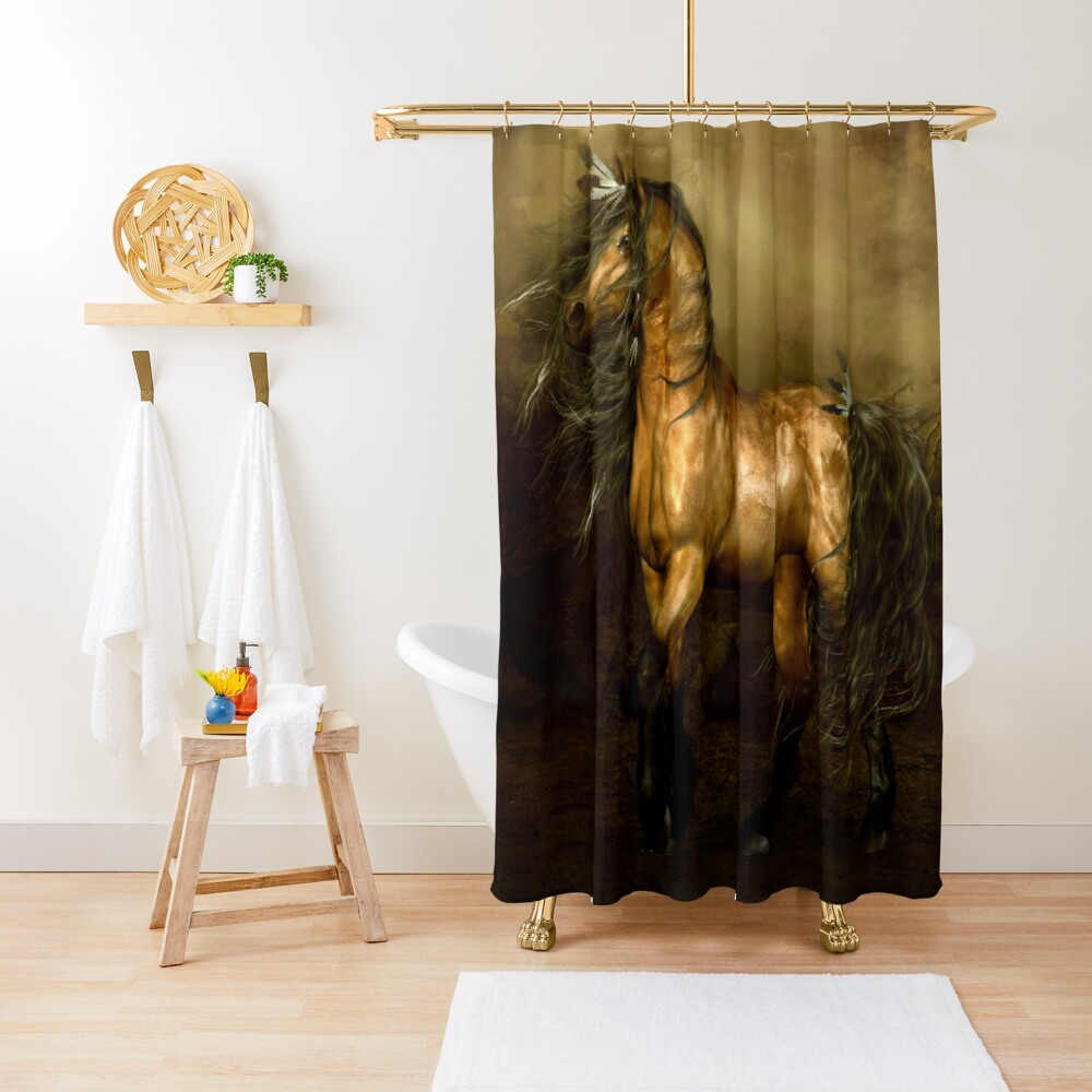 Shikoba - Choctaw Native American Horse Shower Curtain
