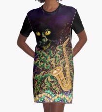Boo Cat Mardi Gras Graphic T-Shirt Dress