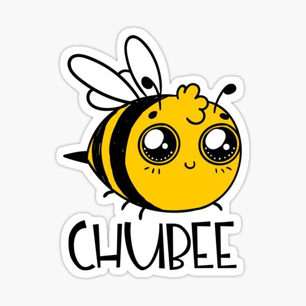 Chubby Bee Cartoon Kawaii Glossy Sticker