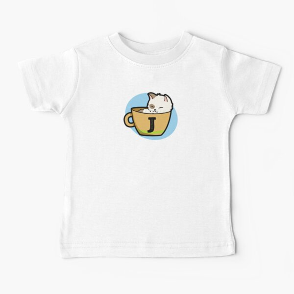 Alphabet Letter J Cute Cup Of Catpuccino  Baby T-Shirt