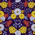 Purple, Blue, Yellow & Red Floral Pattern by somecallmebeth