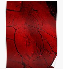 red cracked pavement  Poster