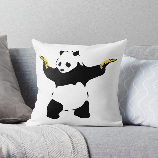 Bad Panda Stencil Throw Pillow