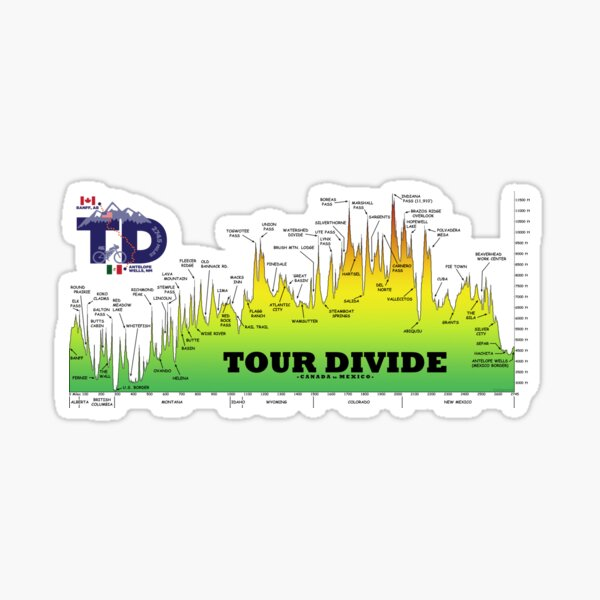 Tour Divide Elevation Profile, TD Logo Sticker