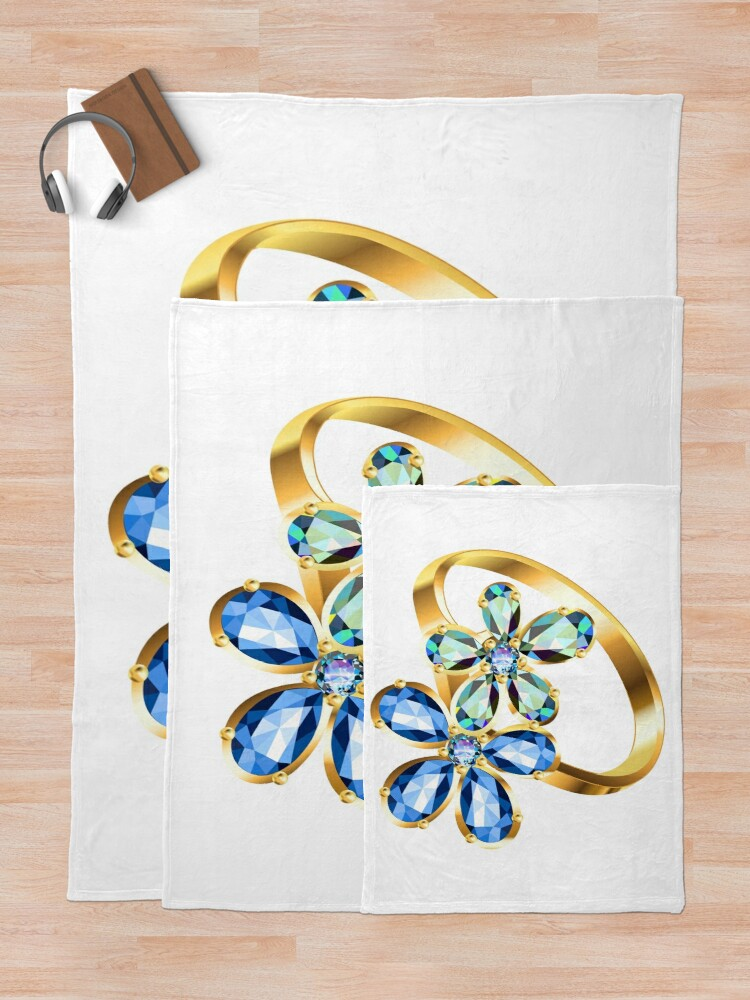 Alternate view of engagement ring #gold, #bright, #decoration, #gift, design, ornate, luxury, jewelry, illustration, celebration Throw Blanket
