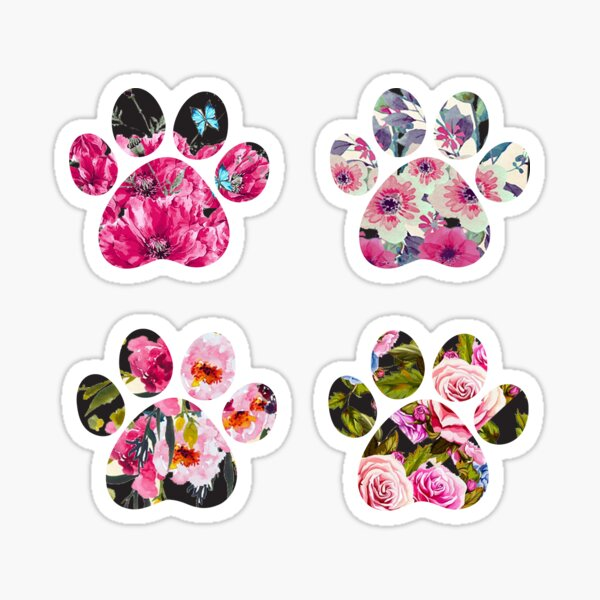 Floral Paws Set of Four Sticker