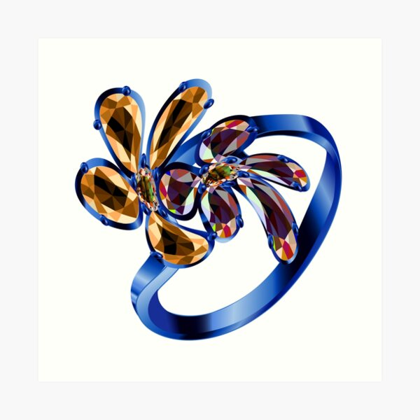 Engagement Ring #gold, #bright, #decoration, #gift, design, ornate, luxury, jewelry, illustration, celebration Art Print