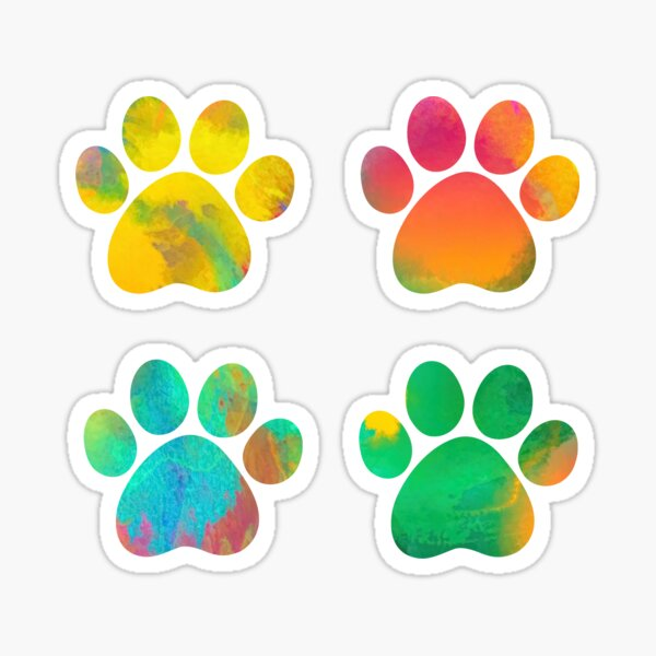 Colorful Watercolor Paws Set of Four Sticker