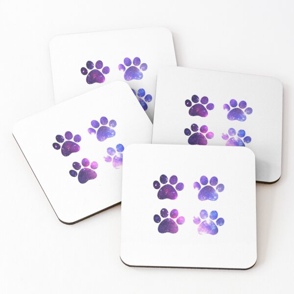 Galaxy Purple Paws Set of Four Coasters (Set of 4)