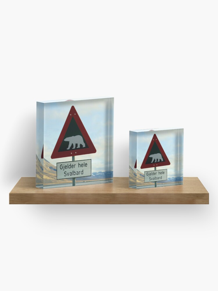 Alternate view of Beware of Polar Bears Acrylic Block