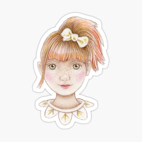 cute red head little girl with pony tail  Sticker